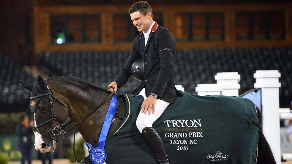 David Blake and horse with medal award
